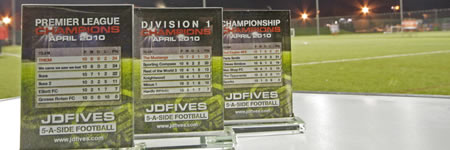JD Fives - Southampton and Hampshire best 5 a sde football leagues - League Winners Trophies